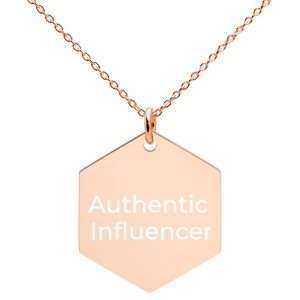 Engraved Rose Gold Hexagon Necklace